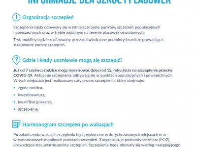 Organizacja szczepień – informacja !!!